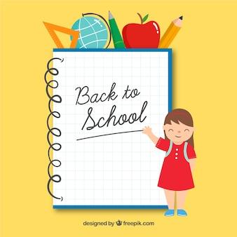 Torna a scuola sfondo con notebook ed elementi