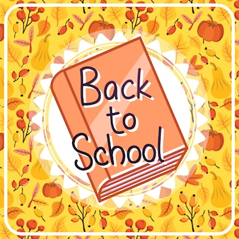 Back to school background with pattern and book