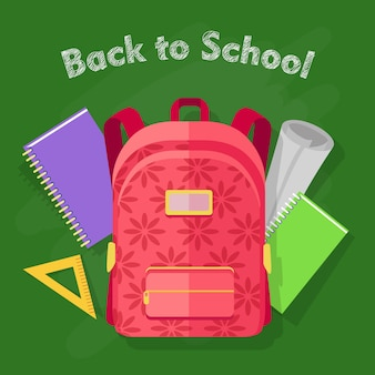 Back to school background with red backpack with flower print