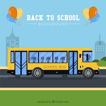 Back to school background with school bus
