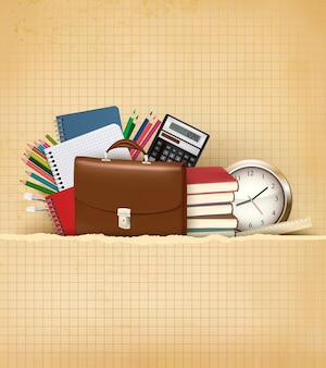 Back to school background with school supplies and old paper