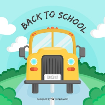 Back to school background with schoolbus