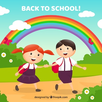 Back to school background with schoolkid couple
