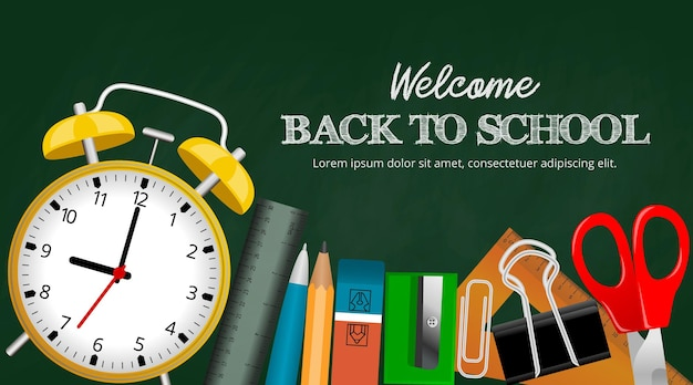 Back to school background with stationeries and chalk writing on green chalkboard illustration