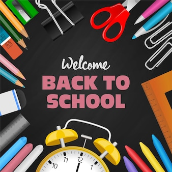 Back to school background with stationeries and chalkboard illustration