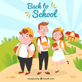 Back to school background with three schoolkids