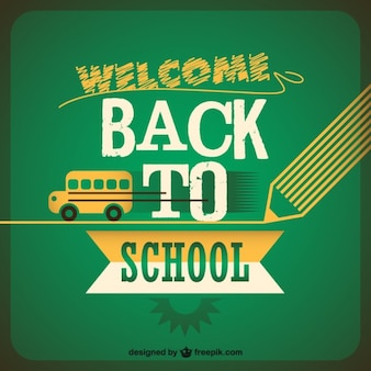Back to school background with yellow school bus