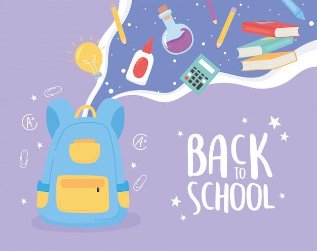 Back to school, backpack glue test tube laboratory calculator items education cartoon