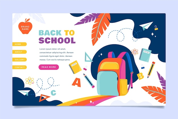 Back to school backpack landing page