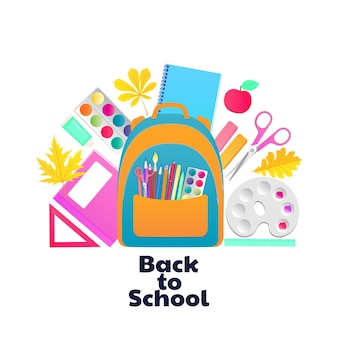 Back to school. backpack and schoolchild supplies. stationery and items for children's creativity.