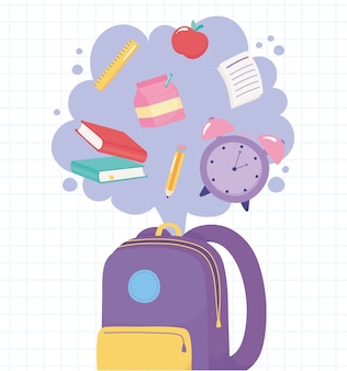 Back to school, backpack with clock books pencil ruler and apple, elementary education cartoon