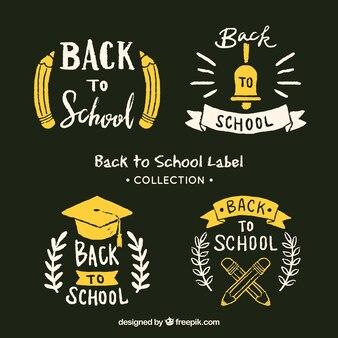 Ritorno a scuola collezione di badge in stile gesso