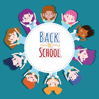 Back to school badge, group students cartoon character  illustration