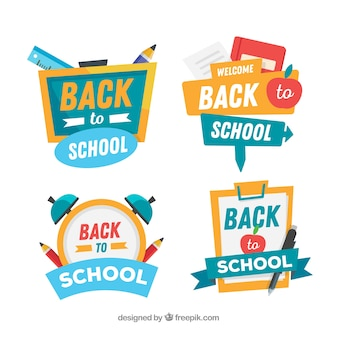 Back to school badges collection with elements