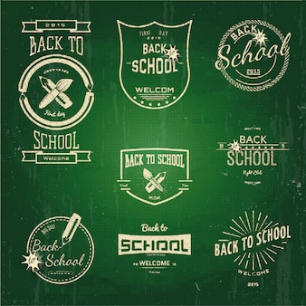 Back to school badges logos and labels