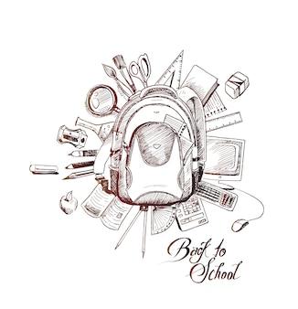 Back to school bag doodles hand drawn sketch vector background Premium Vector