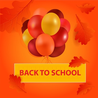 Back to school balloons vector leaves orange