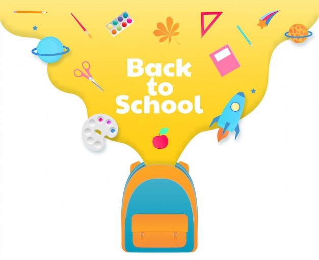 Back to school banner, backpack with study supplies, stationery. spaceship, comet, planet.