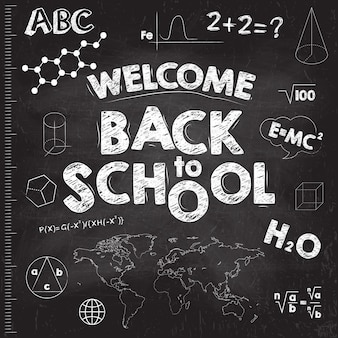 Back to school banner. black school board with inscriptions.