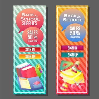 Back to school banner colorful template
