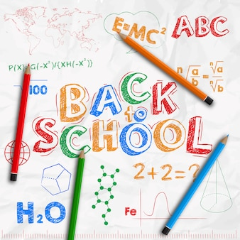 Back to school banner. crumpled white sheet of paper with drawings with colored pencils.