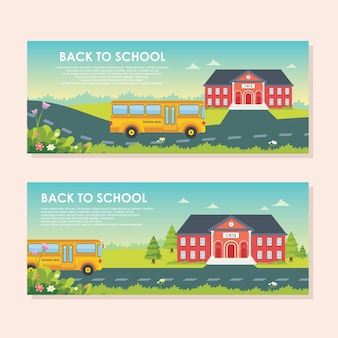 Back to school banner design with cute cartoon style