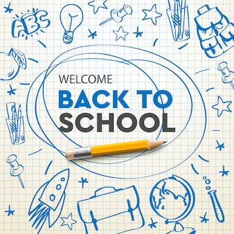Back to school banner, doodle on checkered paper background, illustration.