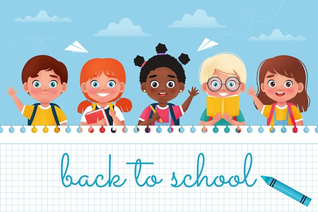 Back to school banner excited happy pupils children vector illustration in cartoon 3d style