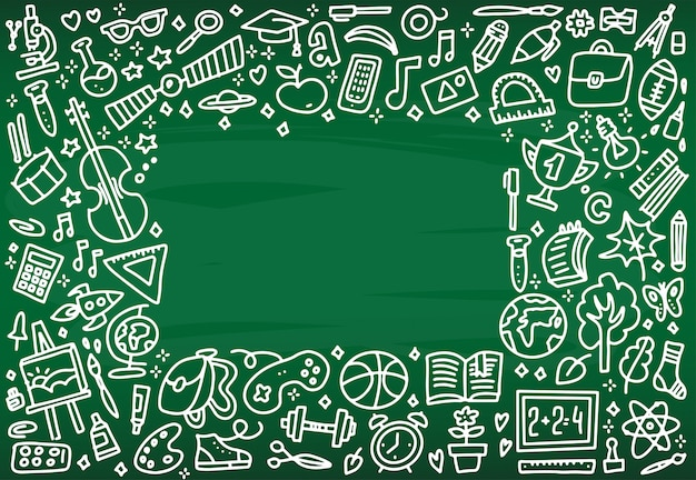 Back to school banner frame with texture from line art icons of education