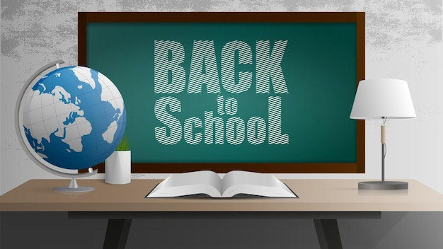 Back to school banner. green board, open book, wooden table in the loft style, globe, table lamp, pot of grass, gray concrete wall. realistic style