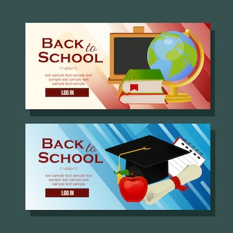 Back to school banner horizontal school goods