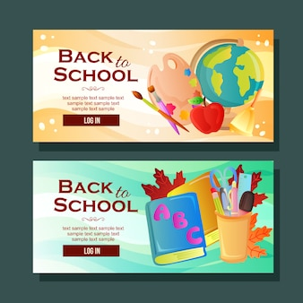 Back to school banner horizontal school stock