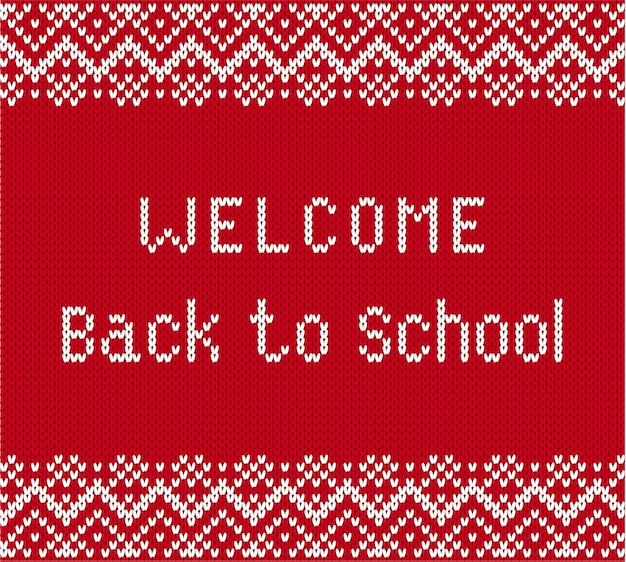 Back to school banner in knitted style.
