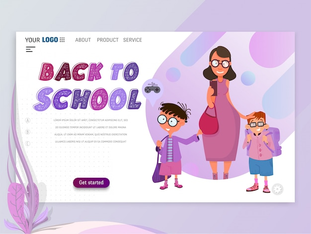 Back to school banner - landing page template