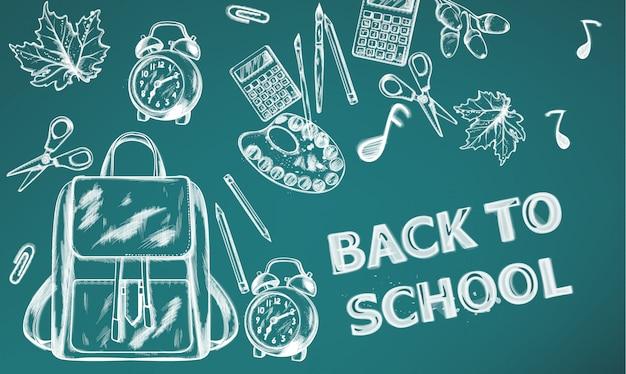 Back to school banner. sale school supplies on chalk outline drawing texture