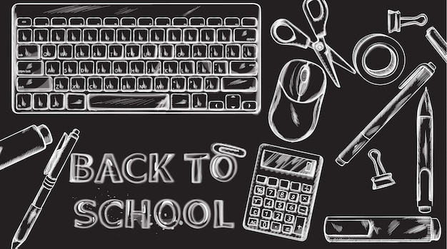 Back to school banner. sale school supplies promotion advertise poster. chalk outline drawing textures
