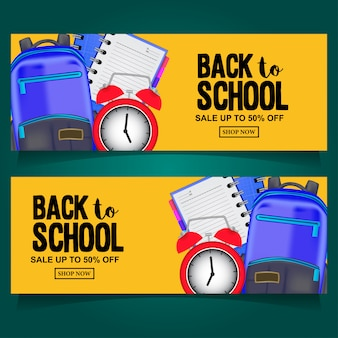 Back to school banner sale with bag