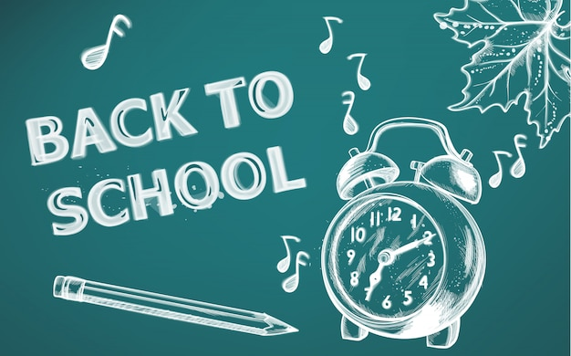 Back to school banner. school supplies on chalk outline drawing texture