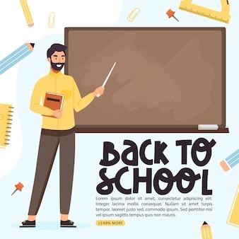Back to school banner school teacher teach at blackboard in classroom