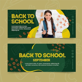Back to school banner set template