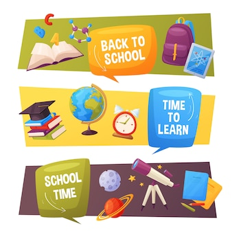 Back to school banner set. vector cartoon elements include: speech bubbles, globe, planets, alarm, tablet, backpack, notebook and molecule.