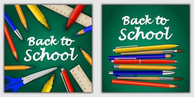 Back to school banner set