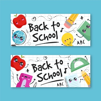 Back to school banner template draw