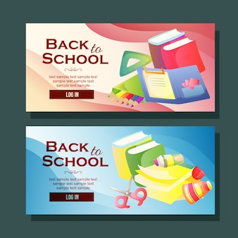 Back to school banner template horizontal