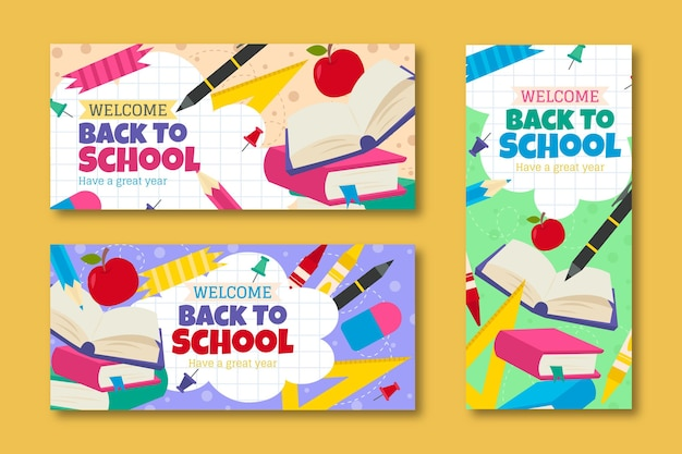 Back to school banner template set