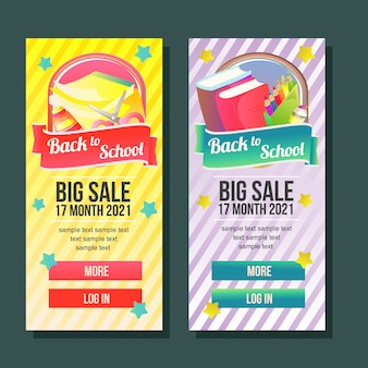 Back to school banner template vertical