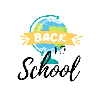 Back to school banner template, with globe and autumn leaves . vector illustration.