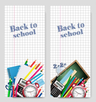 Back to school banner, vector illustration