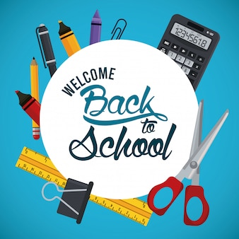 Back to school banner with calculator and supplies