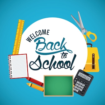 Back to school banner with chalkboard and supplies